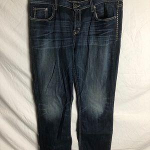 Dark wash straight leg jean